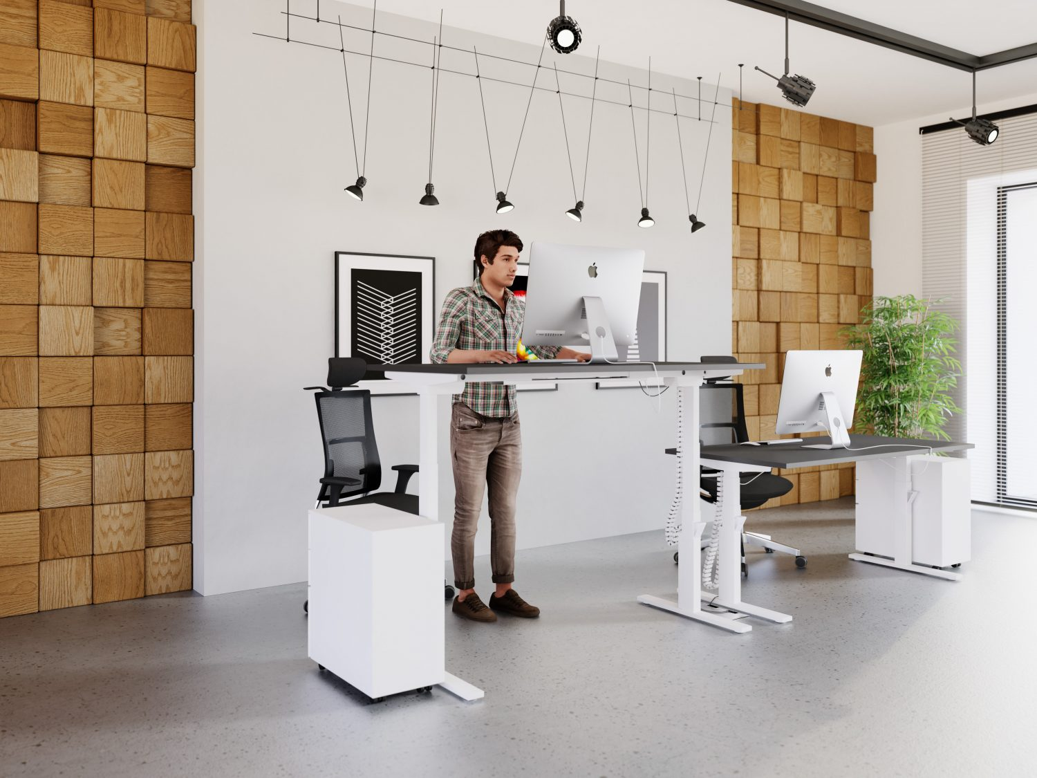 sit stand desks from stacked
