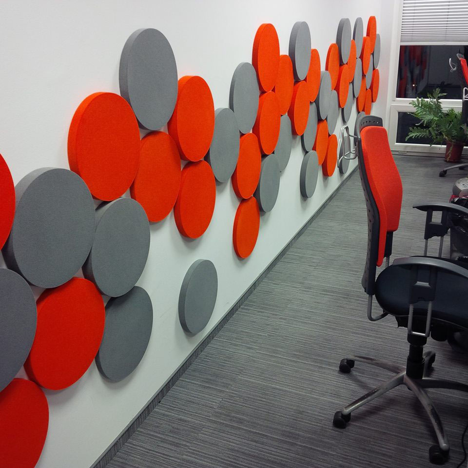 acoustic solutions and coordinating colour schemes from stacked office supplies